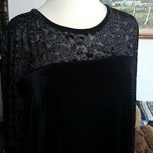 Long black velvet embossed dress